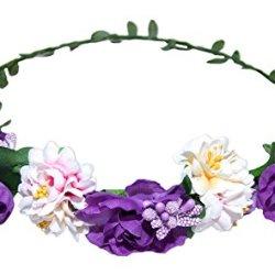 floristikvergleich.de Blumenkranz – Haarschmuck mit Blüten Lila – Zauberhafter Haarkranz zu Dirndl und Trachten, für Hochzeiten und viele Anlässe