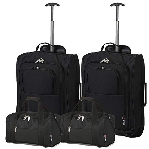 5 Cities Set Of 2 Ryanair Cabin Approved Main & Second Hand Luggage - Carry On Both Bagaglio a mano,...