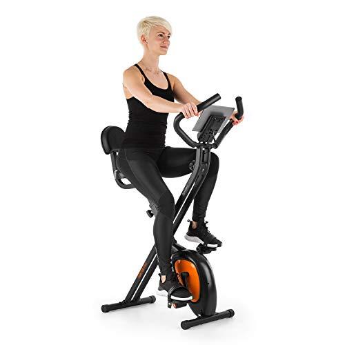 Klarfit X-BIKE-700 2.0 Ergomètre Home-Trainer - Vélo Fitness Cardio, Ordinateur d'entraînement, Pulsomètre intégré, 8 Niveaux de résistance réglables, Noir-Orange