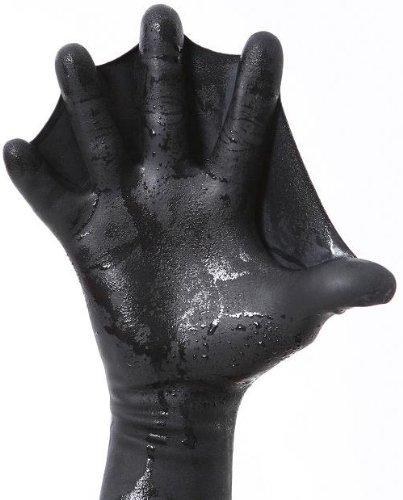 Darkfin Webbed Power Schwimmhandschuhe (1 Paar) für Schwimmen, Tauchen, Schnorcheln, Speerfischen, Surfen, ultradünne Handflossen, Poolschwimmpaddel, WasserAerobic, Schwarz Jugend, Gr. M