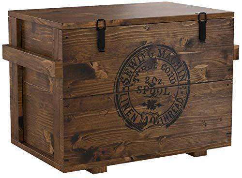 Baule che funge anche da tavolino, stile Vintage Shabby Chic, realizzato in legno di noce massello