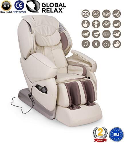 VENDITA -250€ I NIRVANA Poltrona massaggiante Shiatsu 3D - Bianco - Poltrona massaggio con posizione Gravità Zero - Poltrona relax con 9 programmi di massaggio automatici - 2 Anni Garanzia