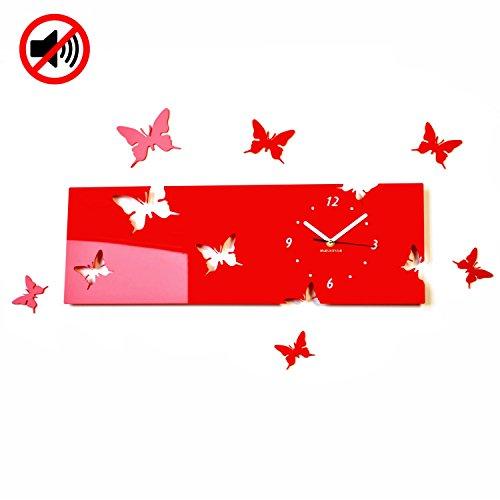 Grande Reloj de pared salón moderno mariposas Horizontal Rojo decorativo Silencioso 20x 60cm