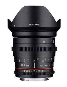 Samyang SA1413 - Objetivo para video VDSLR II para Fuji X (20 mm, T1.9 ED, AS UMC), negro