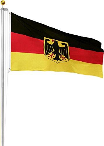 GearUp Aluminium Fahnenmast 6,20m 6,50m 6,80m oder 7,50m Höhe inkl. Deutschlandfahne mit Adler 90x150 Größe 6.8 Meter