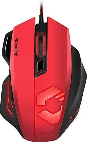 Speedlink DECUS RESPEC Gaming Mouse - Ergonomische Maus für Büro/Home Office (Einstellbar bis 5000 dpi - Beleuchtung in 7 Farben - Programmierbare Tasten) für PC/Notebook/Laptop, schwarz-rot