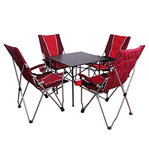 Seggiolone da campeggio pieghevole portatile, sedia da campeggio con portabicchieri e borsa per trasporto, portatile leggero + pausa pranzo all'aperto + reclinabile affidabile-4
