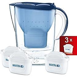 BRITA Marella - Jarra de Agua Filtrada con 3 Cartuchos MAXTRA+, Filtro de Agua que Reduce la Cal y el Cloro, Agua Filtrada para un Sabor Óptimo, Color Azul