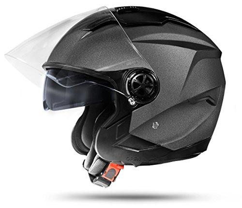 ATO Moto LA Street Jet Helm Grau Größe: L 59/60cm Doppelvisier System Integrierte Visiermechanik  4 punkt Belüftung und neuste Sicherheitsnorm ECE 2205