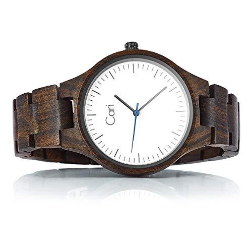 Cari Damen & Herren Holzuhr 40mm mit Schweizer Uhrwerk - Holz-Armbanduhr Berlin-031