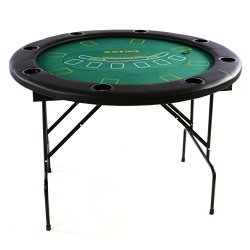 Nexos Profi Casino Pokertisch klappbar Rund Ø 120 cm; 4 in 1 Spiele: Poker, Roulette, Black Jack, Craps inkl. Karten, 100 Chips und Zubehör