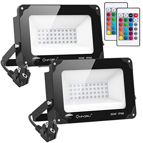 Onforu 2 Pezzi 60W Faretto LED RGB da Esterno IP66 Impermeabile, 4 Modalità 16 Colori, Funzione di...
