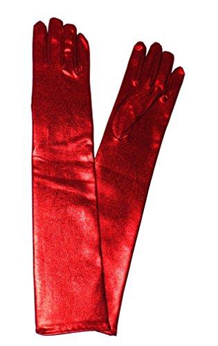 Aspetto bagnato guanti in PVC vinile lunghi lucido per feste musica lirica spettacoli (44cm, rosso)