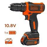 BLACK+DECKER BDCDD12-QW Perceuse-visseuse sans fil - Chargeur inclus, 10.8V, Sans coffret, 1 batterie