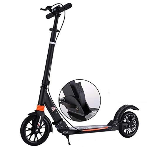LJHBC Kickscooter 200mm Radroller Mit Handbremse Klappgriff Erwachsener Pendler Roller Tragfähigkeit 260 lbs (Color : Black)