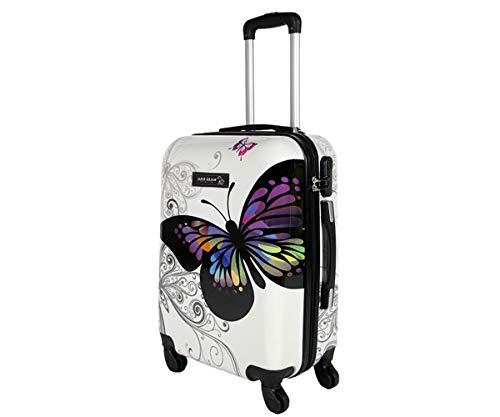 Trolley da cabina 55 cm valigia rigida 4 ruote in abs policarbonato stampato a fantasia antigraffio...
