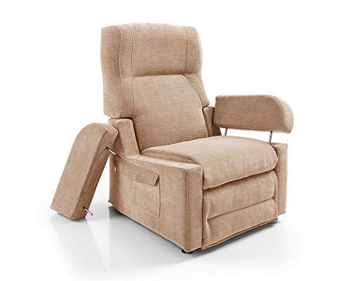 Orthomatic - Poltrona Relax 2 Motori Elevabile Modello Zara Motorizzata, Memory-Foam, Anti-decubito, LettoRelax180°, Roller4Ruote, Braccioli Estraibili, Tessuto Anti-Macchia Iva 4% (Beige)