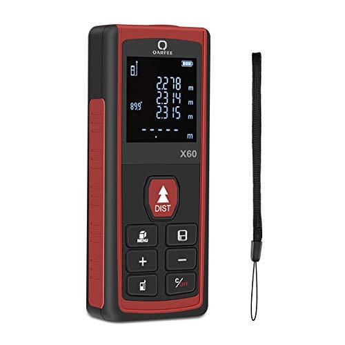 Qarfee Metro Laser 60M Portable Misuratore di misura digitale Distanza, 4 Modalità di Misura...