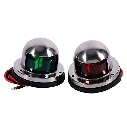 Aramox - Luce di navigazione per barche e yacht, in acciaio INOX, 12 V, LED, colore: rosso e verde