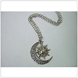 Abalorio de plata media luna Sol antiguo Colgante Media luna, luna y sol collar, 60cm suéter cadena collar