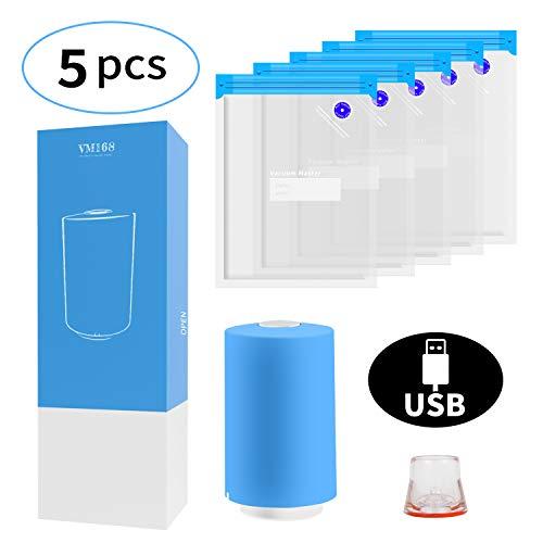 VMSTR Sous Vide Borse Kit con Mini USB Vacuum Electric Pump riutilizzabili sacchetti di stoccaggio sottovuoto alimentare (5 pezzi)
