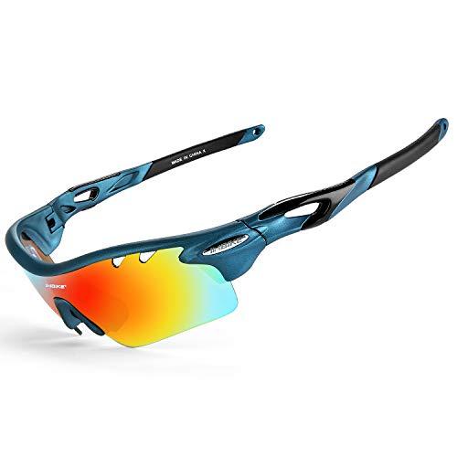 INBIKE Gafas De Sol Polarizadas para Ciclismo con 5 Lentes Intercambiables UV400 Y Montura De TR-90, Gafas para MTB Bicicleta Montaña 100% De Protección UV(Azul)