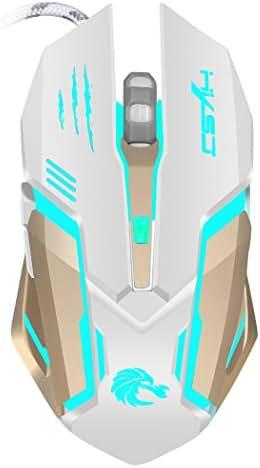 Akemiao Gaming Mouse Maus-Spiel Ergonomisches Design für einen Hauch komfortabel, langfristige Verwendung ohne Mühe und professionelle optische High-End mit 7Farben Hintergrundbeleuchtung LED bianco