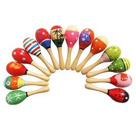4pcs giocattoli per bambini piccoli maracas in legno agitatori sonori egg handbell musicale educativ