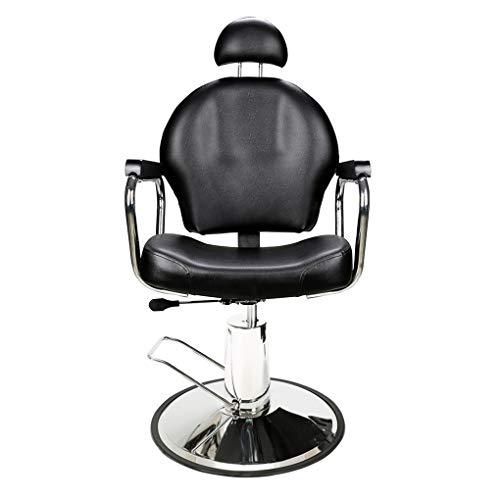 BarberPub Barbiere Elegante per Donna Barbiere Idraulico Parrucchiere Girevole Reclinabile Capacità Regolabile Saloni di Bellezza 3022BK