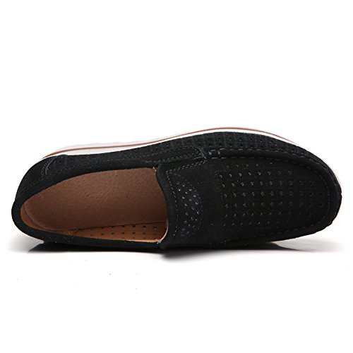 75b2bac6f463 HKR Women Platform Slip on Loafers Comfort Hollow Cut Out Suede ...