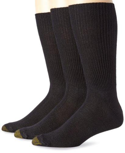 Gold Toe Men's Fluffies Extended Sock, 3 Pack, Black, Sock Size:10-13/Shoe Size: 6-12