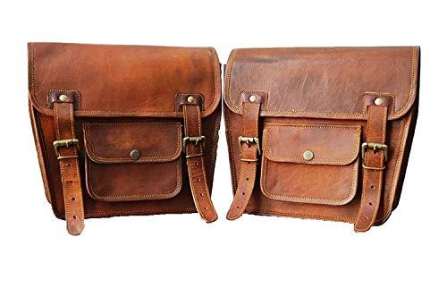 Seite mit braunem Leder Tasche Satteltaschen für Sattel Tanktasche 2 Taschen für Fahrrad-Motorrad-Fahrrad