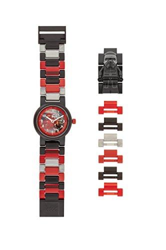LEGO Star Wars 8020998 Kylo Ren Kinder-Armbanduhr mit Minifigur und Gliederarmband zum Zusammenbauen , schwarz/rot, Kunststoff ,Gehäusedurchmesser 25mm, analoge Quarzuhr , Junge/ Mädchen , offiziell