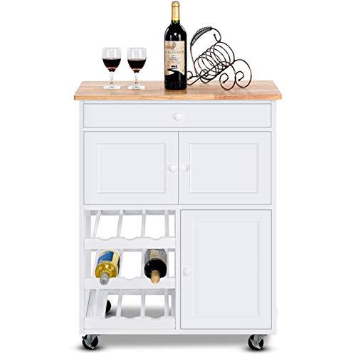 COSTWAY Carrello da Cucina Carrello con Cassetto Portabottiglie Tre Ante, in Pino e MDF, Bianco, 67...