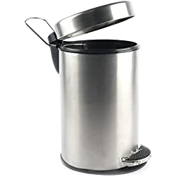 King Traders Stainless Steel Plain Pedal Dustbin/ Plain Pedal Garbage Bin with Plastic Bucket- 7''x10'' (5 litre)