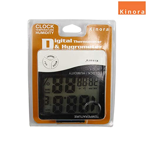 Kinora Humidity Time Display Meter with Alarm Clock, Wall Mount or Table Top, Multicolour