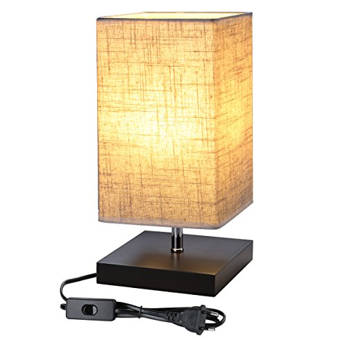 LE Lámpara de Mesa, LED Luz Mesita de Noche, E27, Pantalla de Tela, Lámpara Escritorio Diseño Clasico Vintage para Dormitorio, Estudio, Salon etc