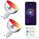 GU10 Bombilla Wifi Inteligente, Avatar Controls Inalambrica Dimmable 5w RGB LED Lámpara Control Remoto Compatible con Google Assistant / IFTTT (2 paquetes)