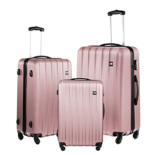 Nasher Miles Zurich Old Rose Pink ABS Hard Luggage - Set of 3 Trolley Bags (55, 65 & 75 cm)