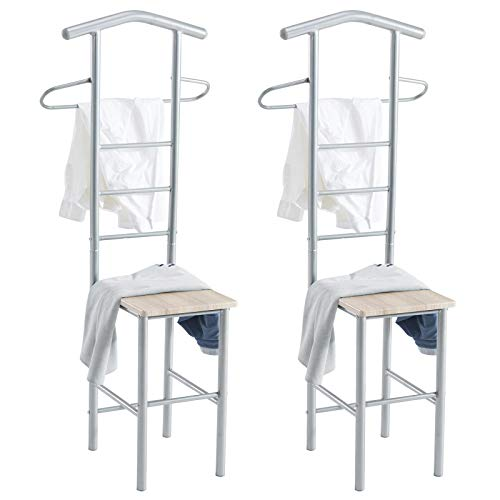 CARO-Möbel Herrendiener 2er-Set JIVO Kleiderständer Garderobenständer, Metall grau und MDF in Sonoma Eiche