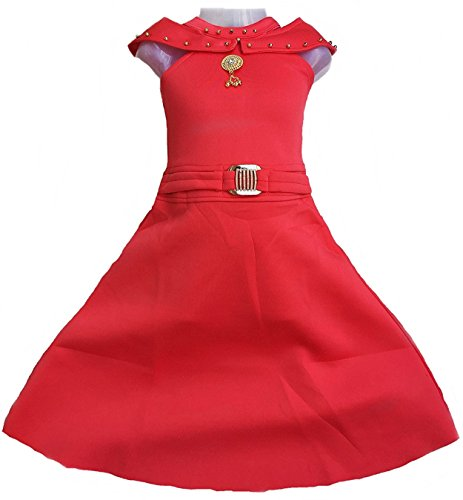 Kashvi Girl's Dresses and Festival Occasion (Red, 8-9 Years, 80)