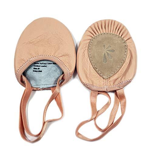 DANCE YOU Classico Danza Mezze Scarpe Balletto Ballo Mezza Scarpe Ritmica artistiche Ginnastica Half Pantofole Leather per Donna Ragazza 2 Colore
