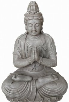 Figura de Buda Guanyin orando en la posición del loto – para casa y jardín – Altura 66 cm – gris