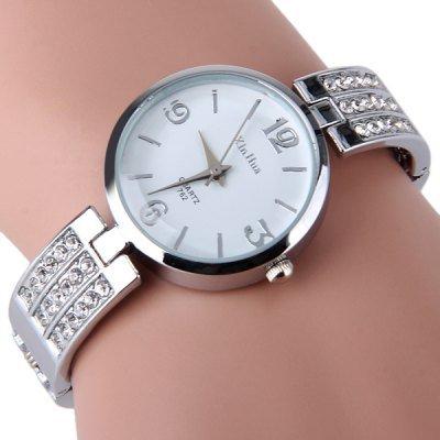 Elegante orologio da donna lega al quarzo W/strass braccialetto vestito party Gift White