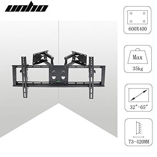 UNHO supporto TV da parete orientabile inclinabile Mobile TV sospeso Schermo LED LCD Plasma da 32a...
