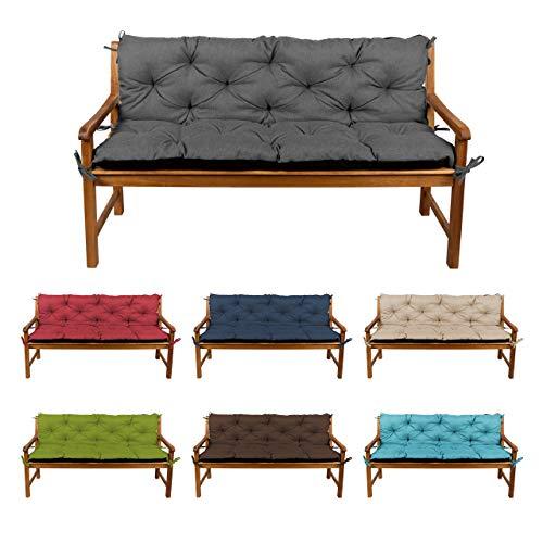 Bankauflage Bankkissen Sitzkissen + Rückenlehne für Hollywoodschaukel Gartenpolster L (110x50x50, 2 Dunkelgrau)