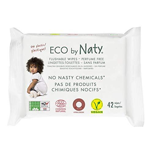 Eco by Naty, Salviettine gettabili nel WC, Salviettine compostabili realizzati con fibre vegetali, 0% di plastica, 0% di sostanze chimiche nocive, 504 pezzi (12x42 salviettine)