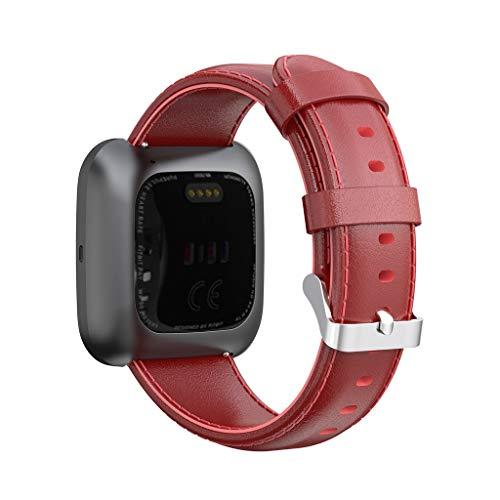 Cinturino per Fitbit Versa 2 Cinturini Pelle, JSxhisxnuid Elegante Braccialetto Cinturino Sport (Rosso)
