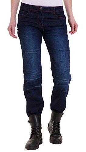 Qaswa Damen Motorradhose Jeans Motorrad Hose Motorradrüstung Schutzauskleidung Motorcycle Biker Pants, W32-L31, Dark Blue 02