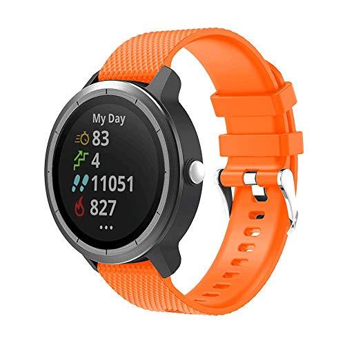 METEQI Cinturino Compatibile con Garmin Vivoactive 3,20mm Cinturino di Ricambio in Silicone Morbido per Garmin VivoActive 3/Garmin Forerunner 645 Music/Samsung Galaxy 42mm Smart Watch (Arancia)